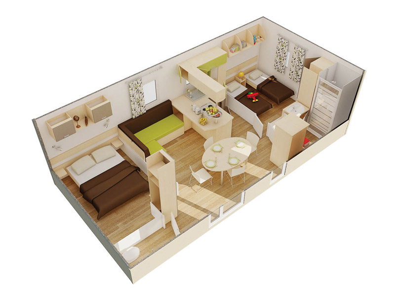 Location mobile-home 2 chambres Camping Ar Kleguer