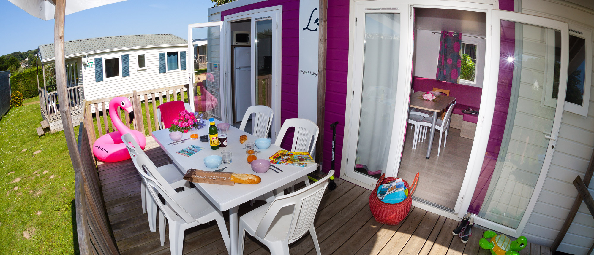 Terrasse mobile-home camping Ar Kleguer